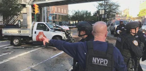 Six people have been killed in lower Manhattan after a truck driver mowed down cyclists and pedestrians