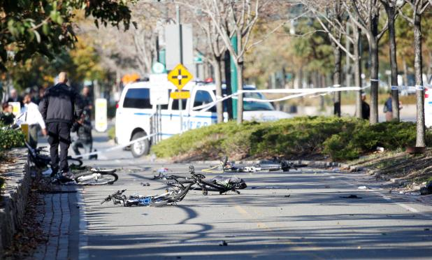 Bikes can be seen scattered across the road after the suspected terror attack