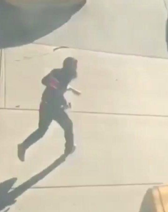 The alleged suspect truck driver flees on foot before he was gunned down by cops