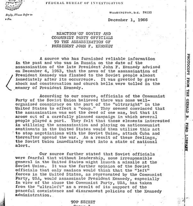 The bombshell document was one of 2,800 JFK related classified documents released on Thursday