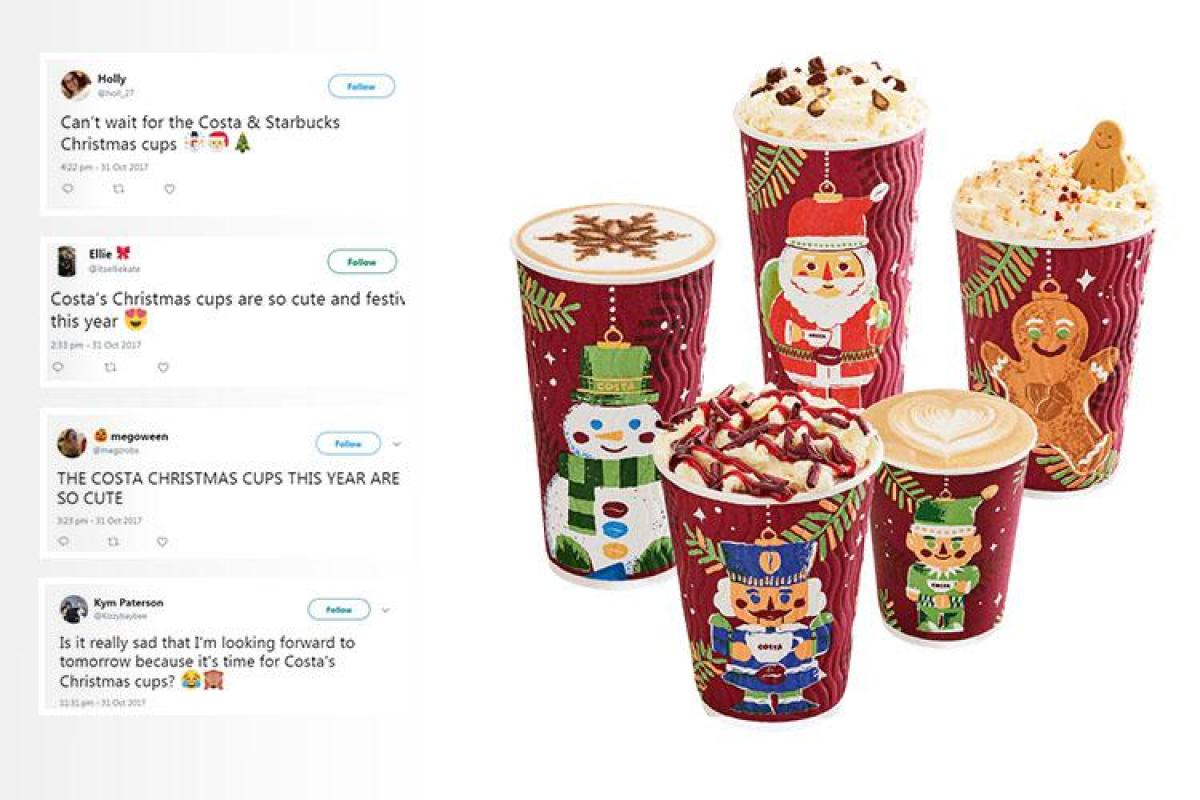 Starbucks Christmas Cups.Costa Has Released Their Christmas Cup Designs Of The Year