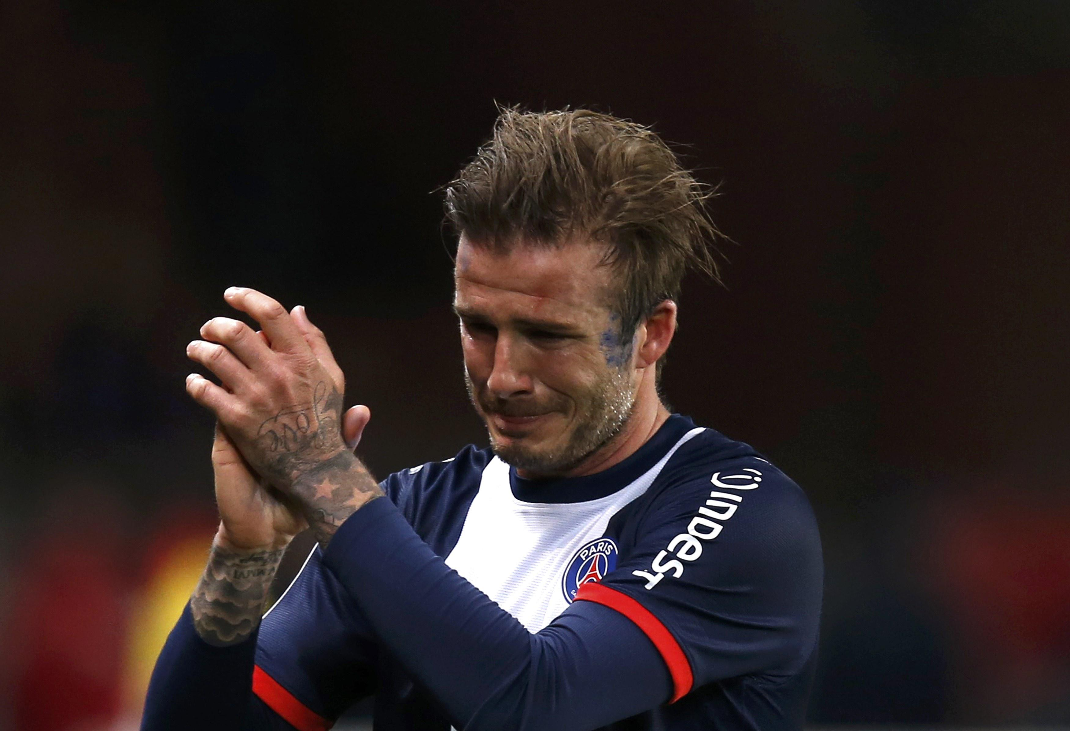 David Beckham could not contain himself after playing his last-ever game