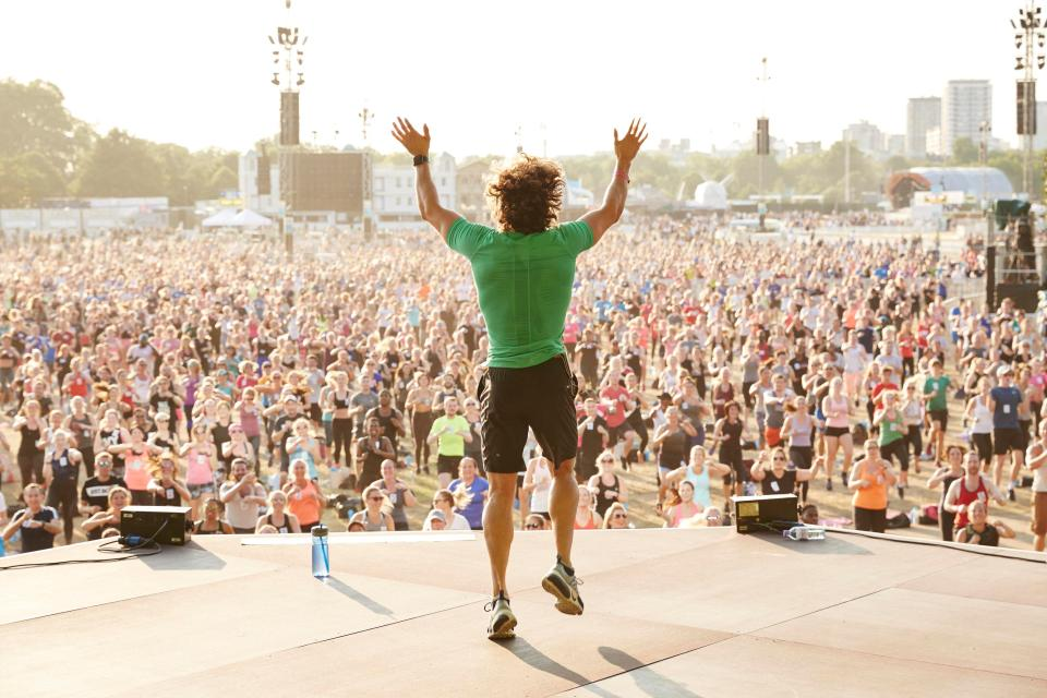 In July he set a Guinness World Record by leading the most people doing a HIIT workout at one time in London's Hyde Park