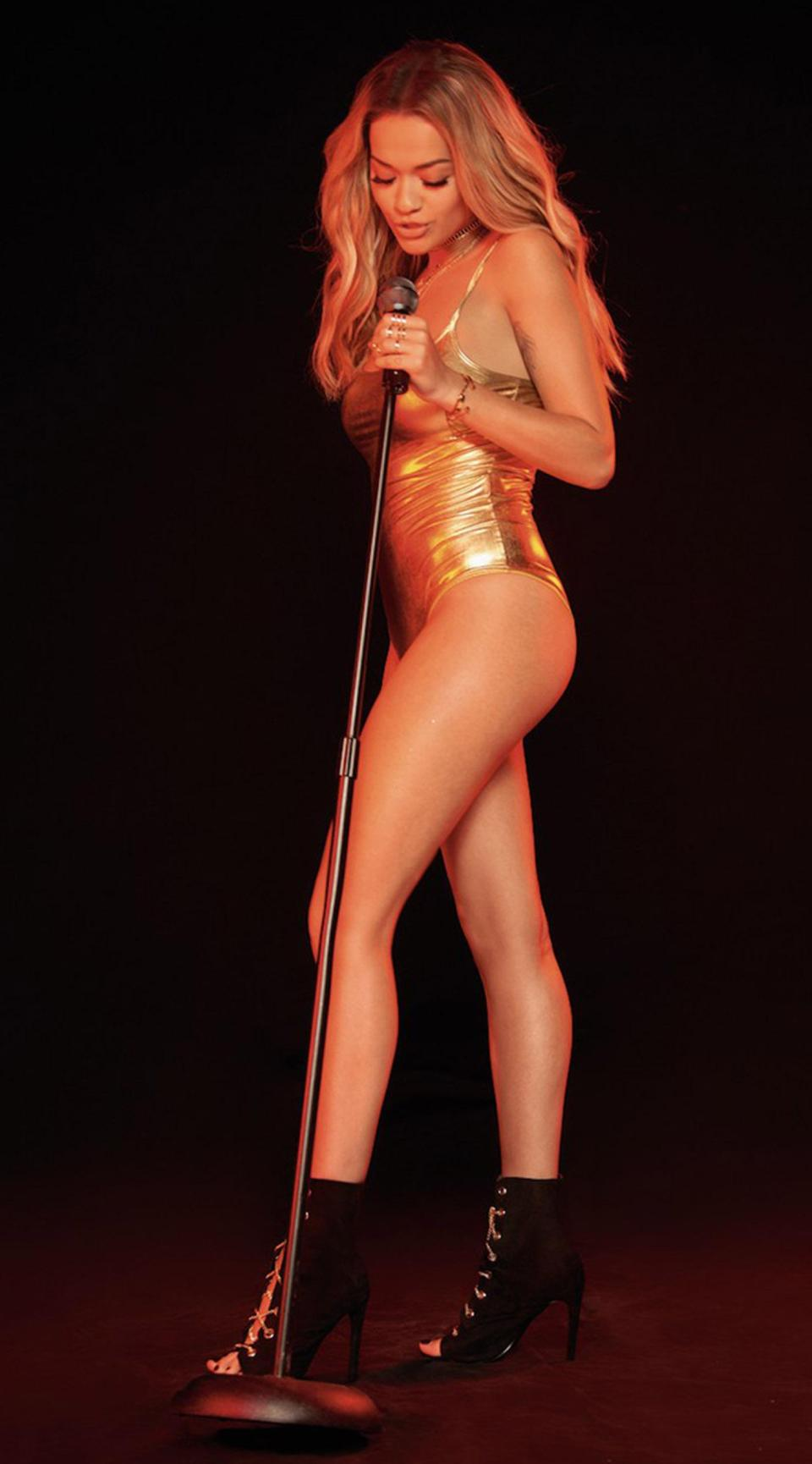 Rita Ora sizzled as she stripped to a sexy gold costume for her new modelling campaign