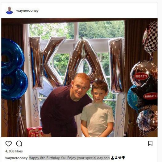 Wayne Rooney posted to his Instagram site wishing Kai a happy birthday