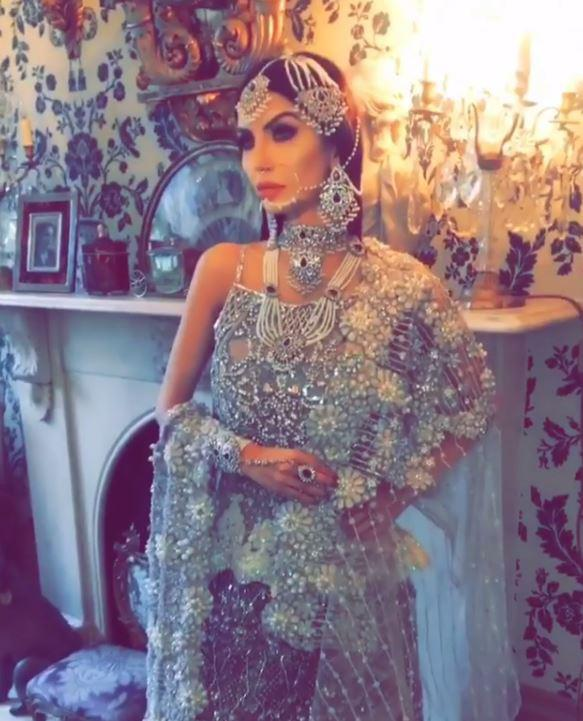 Faryal, who is three months pregnant, looked stunning as she posed in the glitzy gowns