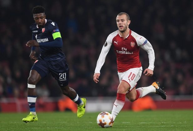 Jack Wilshere has only started Europa League and Carabao Cup games this season