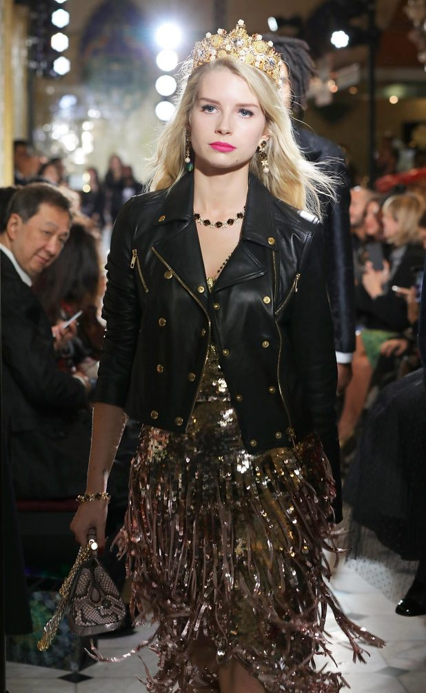 Lottie Moss stormed the runway in a glittering gold crown and biker jacket