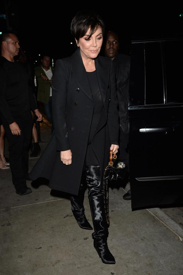 Momager Kris looked chic in an all black outfit