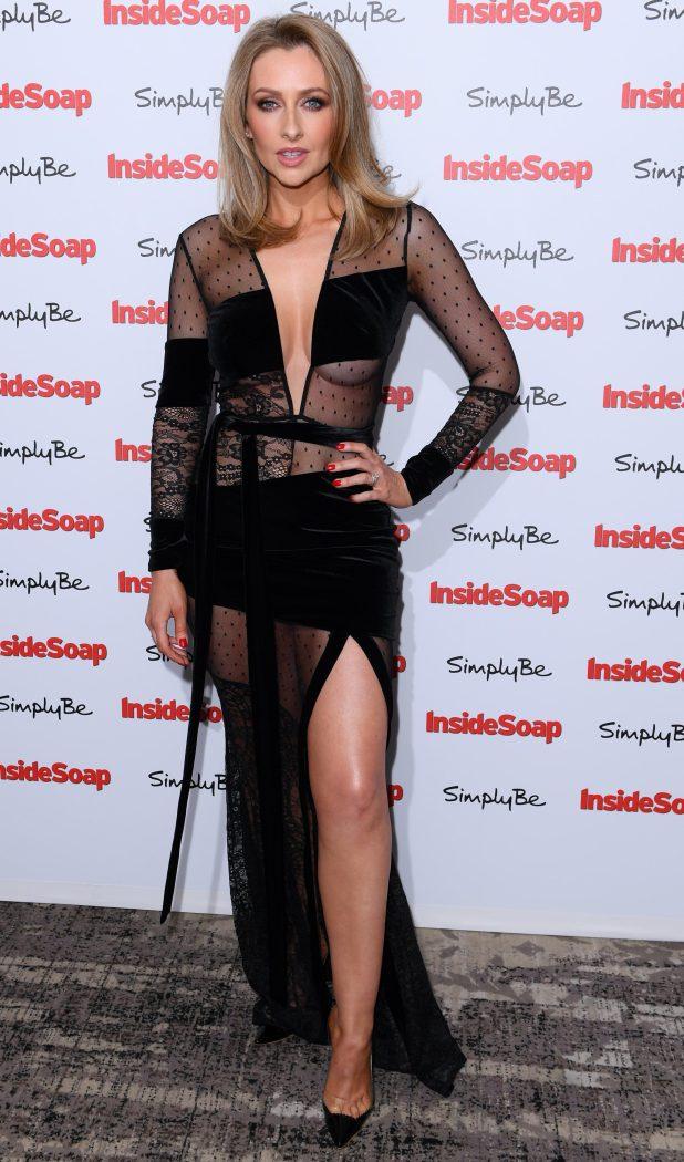 Gemma Merna opted for a daring black and sheer dress