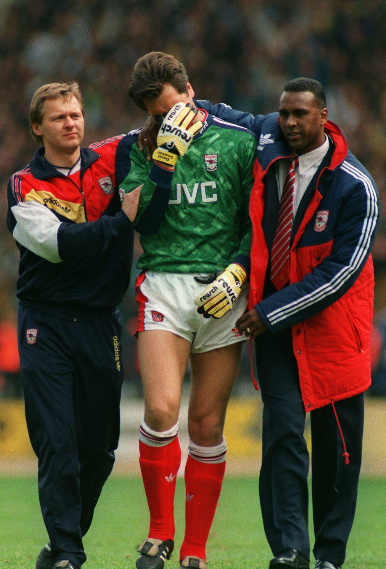 David Seaman couldnt keep it together as Arsenal lost to Tottenham in the 1991 FA Cup semi-final, losing 3-1 to Tottenham