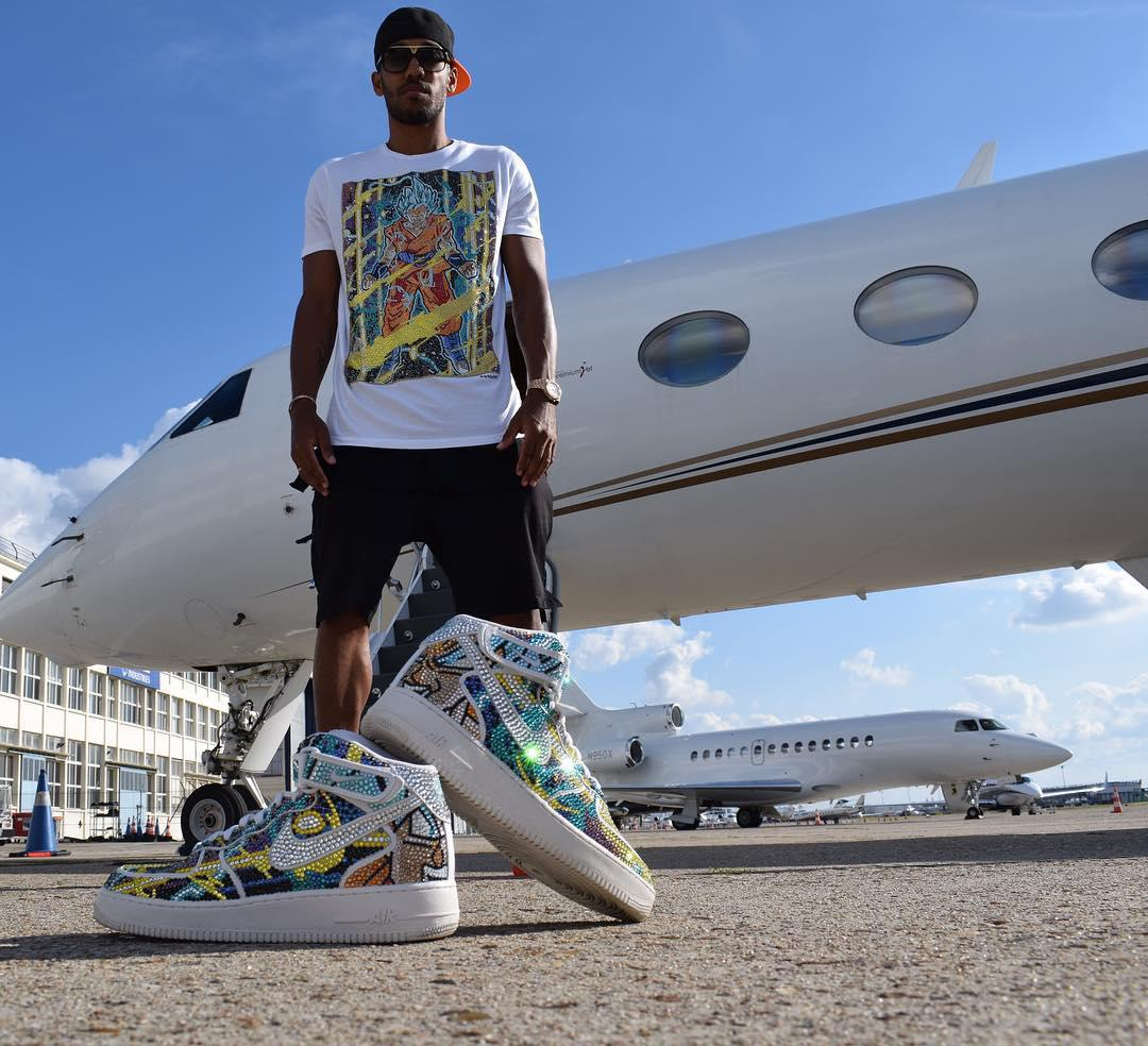 Dortmund star Pierre-Emerick Aubameyang lives a flashy lifestyle, with private jets and custom footwear the tip of the iceberg