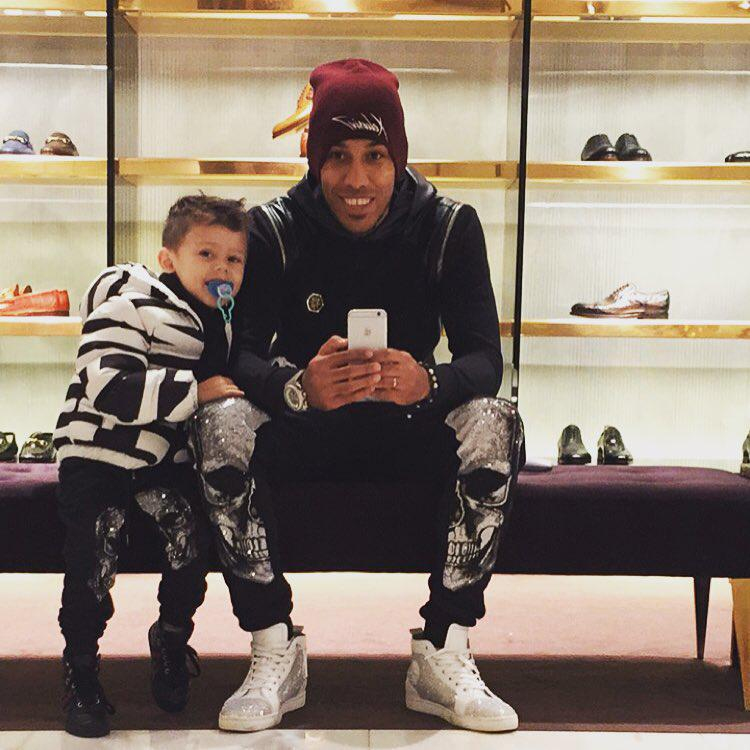 Pierre-Emerick Aubameyang regularly posts Instagram pictures including his eldest son Curtys