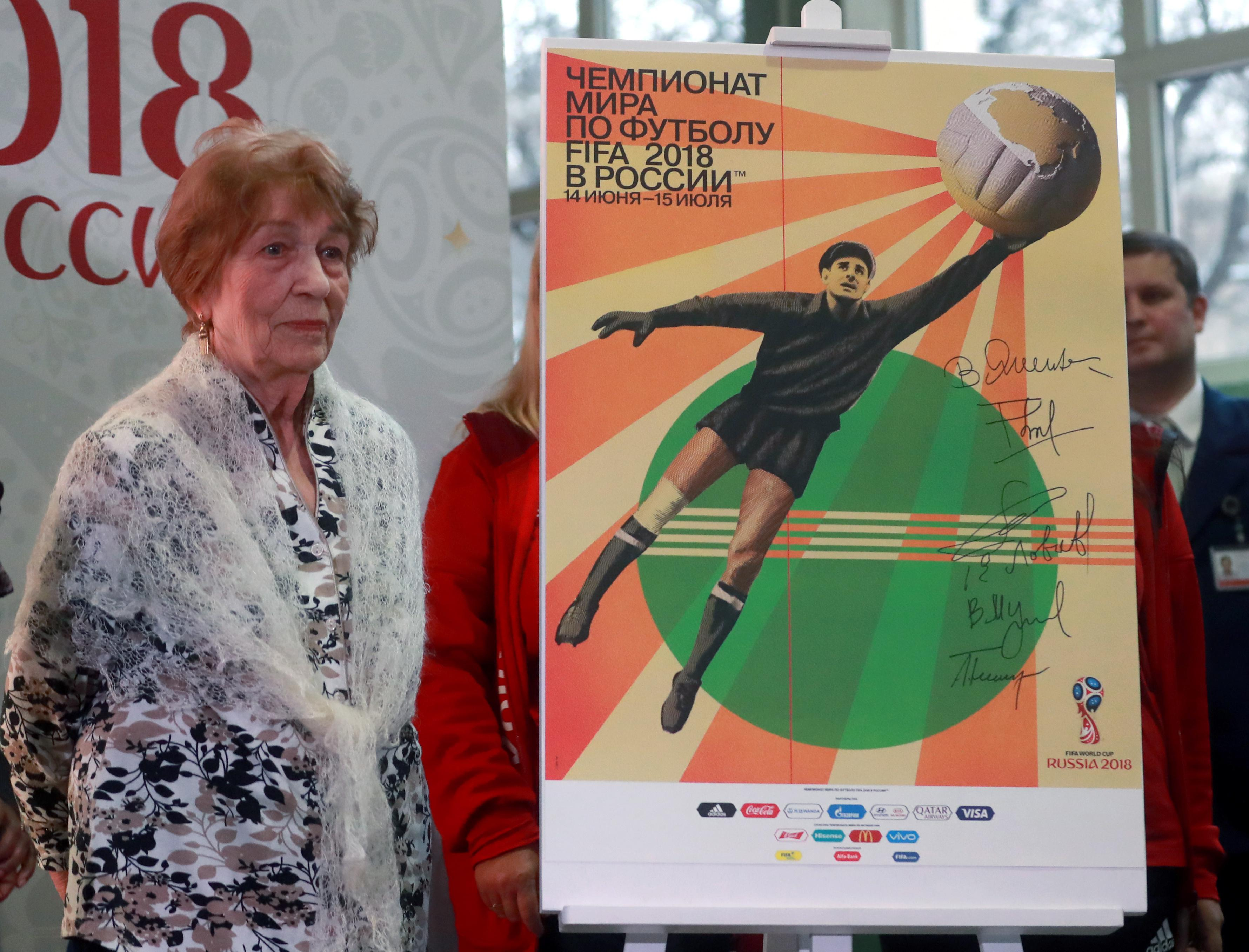 The poster was unveiled in Moscow today by the widow of Lev Yashin, Valentina
