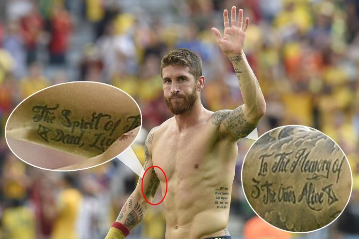 Sergio Ramos has a tribute to terror victims across both his arms