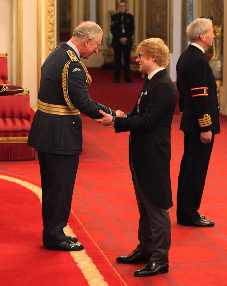 ED Sheeran was awarded an MBE at Buckingham Palace today for his services to music