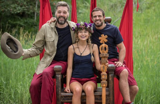 Toff was crowned Queen of the Jungle in 2017 ahead of Iain Lee, left, and Jamie Lomas, right
