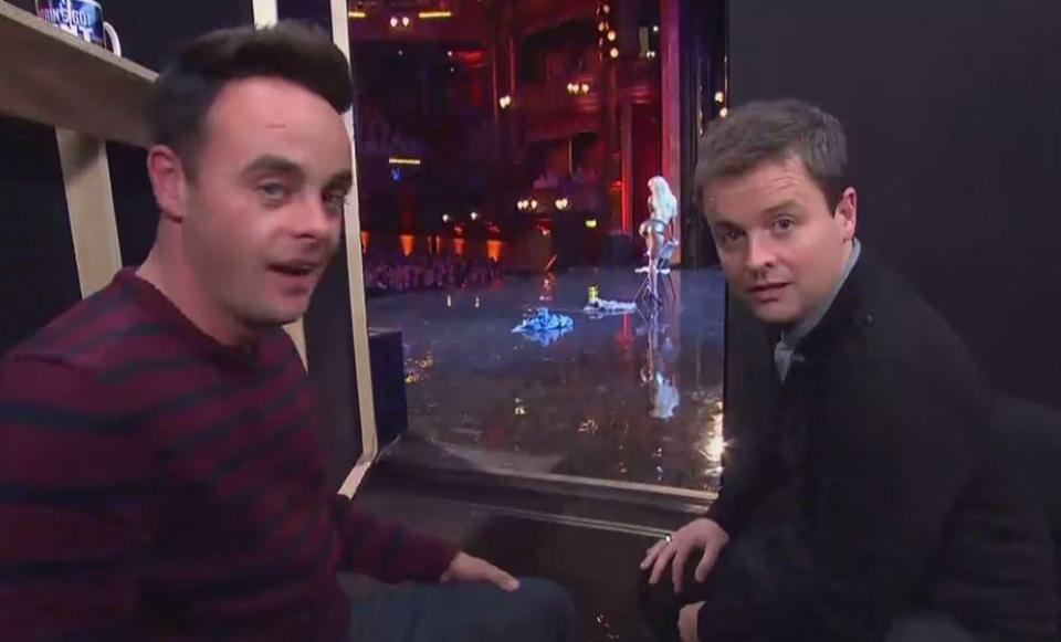 Ant and Dec watch on as dancer Graham performs on stage