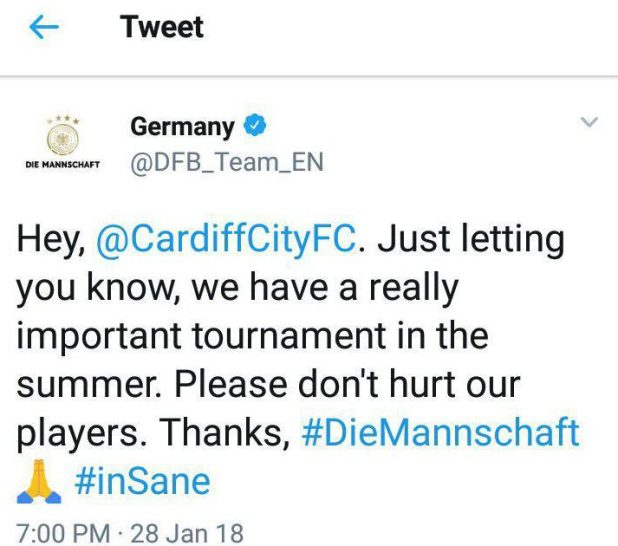 germanfa e1517254109773 - Manchester City confirm Leroy Sane suffered ankle ligament damage in horror challenge from Cardiff's Joe Bennett