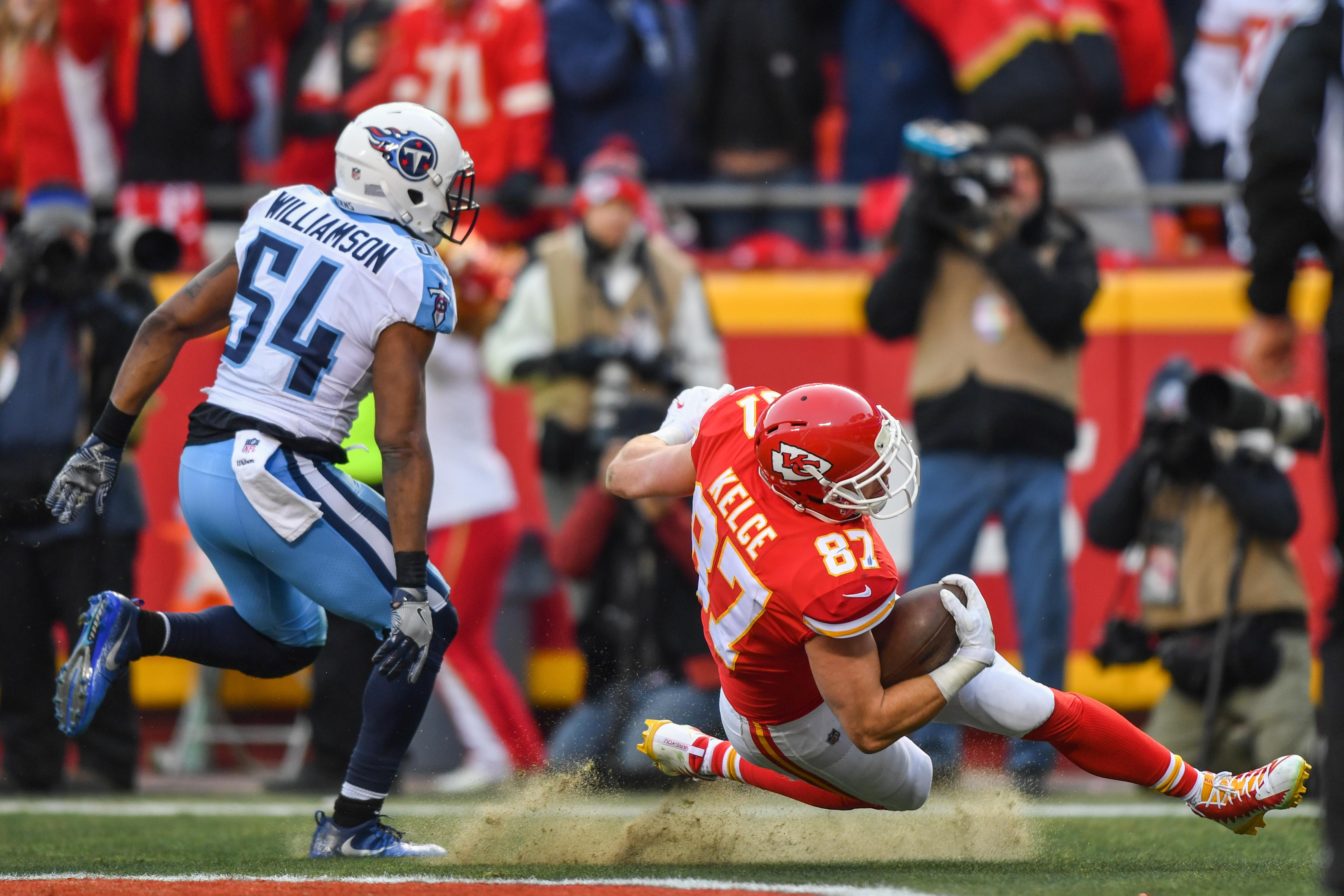 Travis Kelce goes over as the Kansas City Chiefs build up big first-half lead