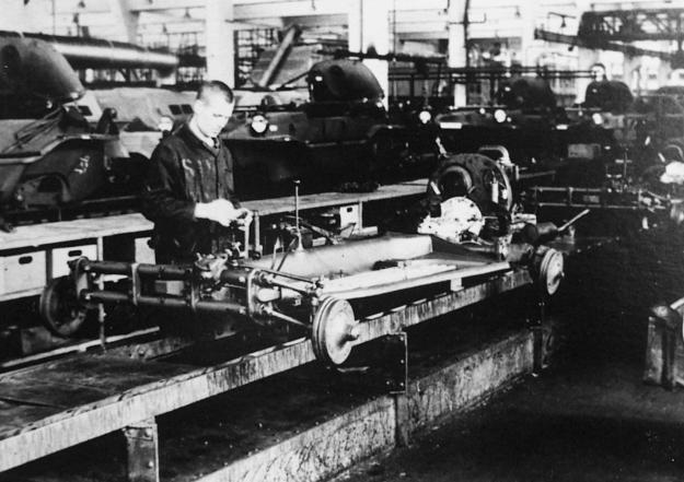 A Russian slave labourer pictured in 1942 at the Volkswagen plant