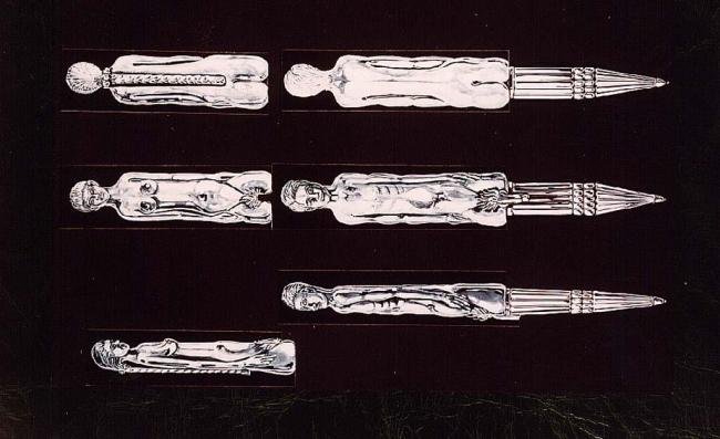 A set of erotic pens in white gold owned by Jefri Bolkiah