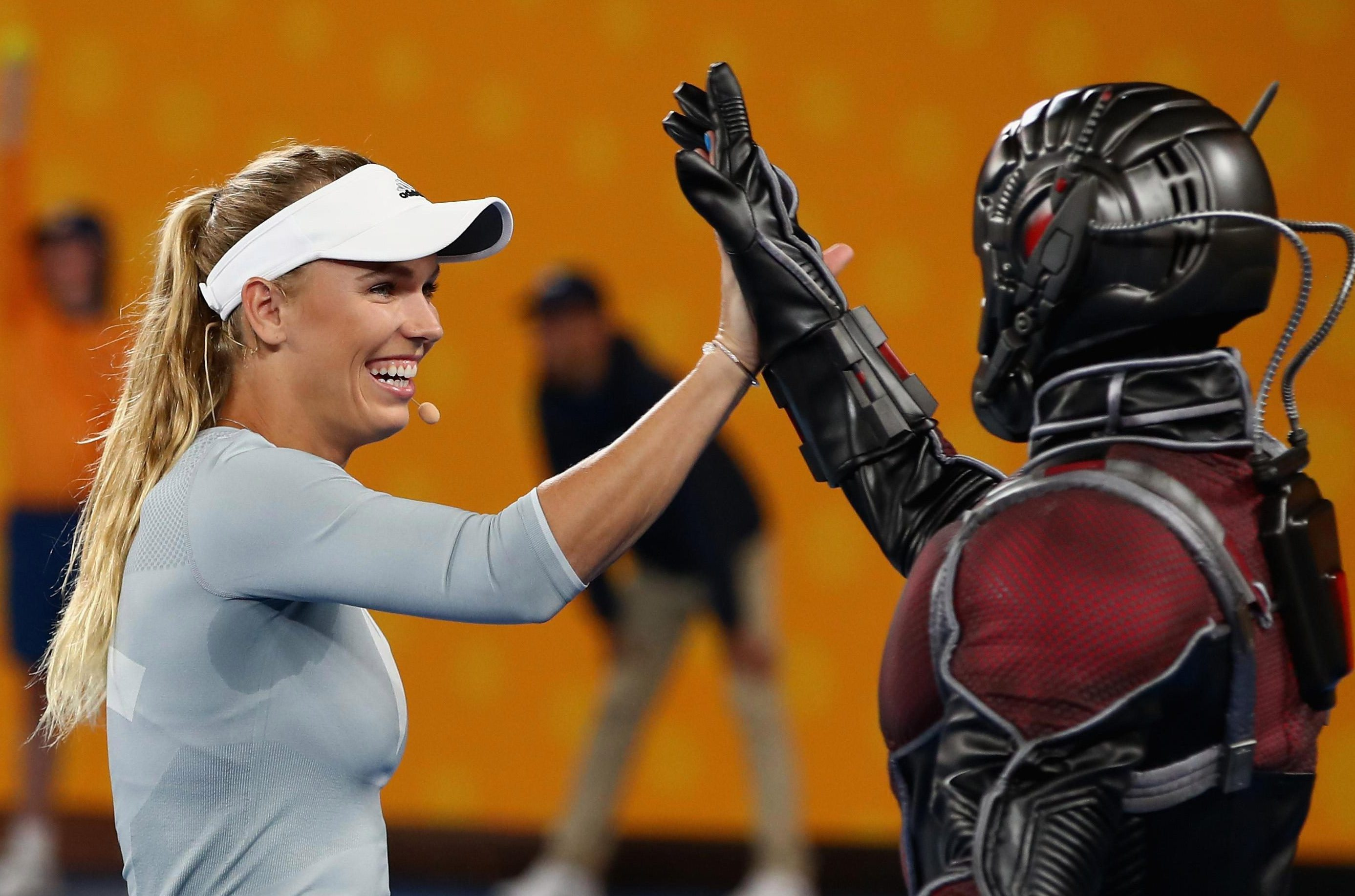 Caroline Wozniacki high-fived Ant-Man before the tournament but wants to be Queen Bee in Saturday's final