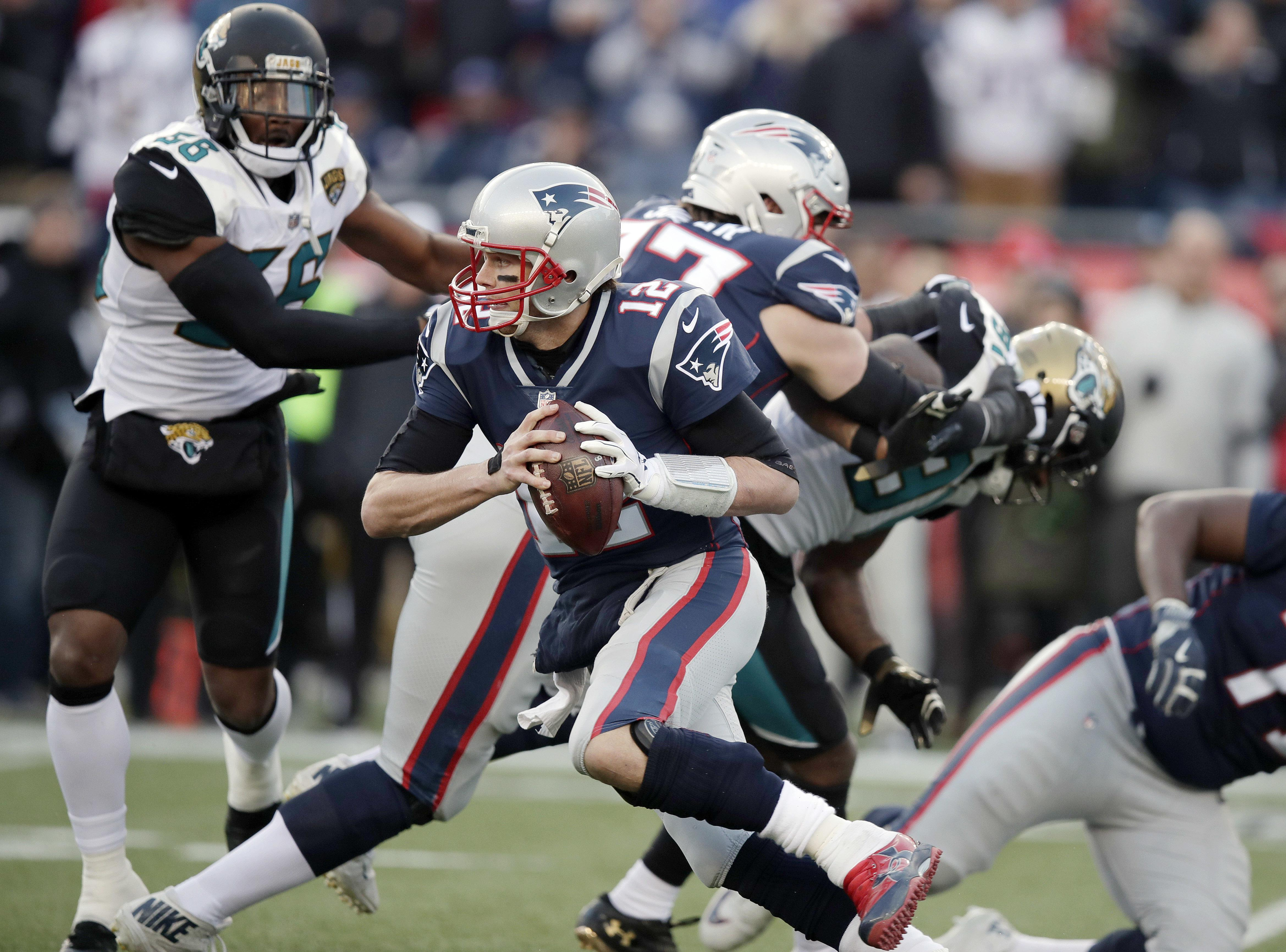 Tom Brady came under pressure all evening from a ferocious Jacksonville defence