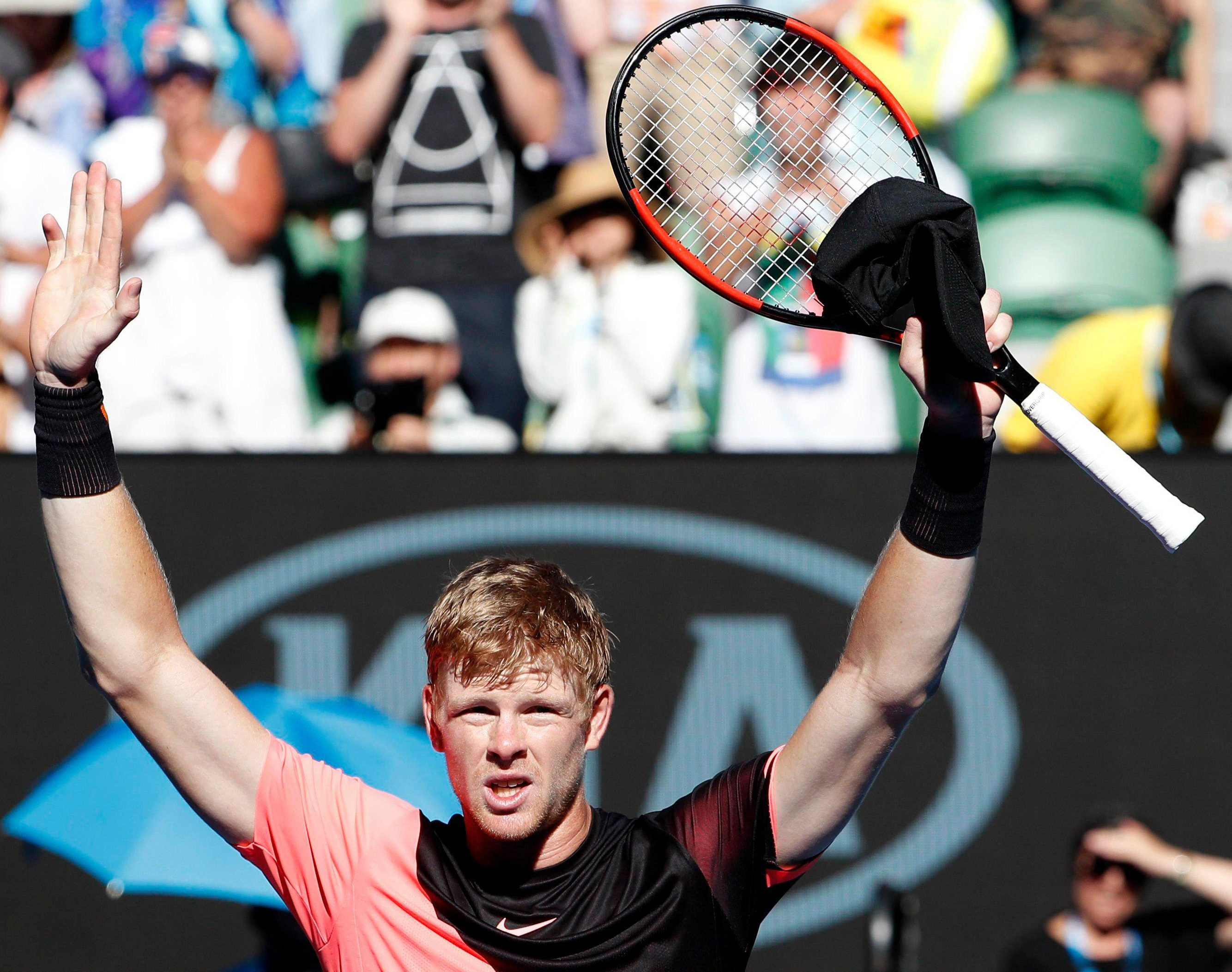 Edmund celebrates his win over Grigor Dimitrov to reach the last four