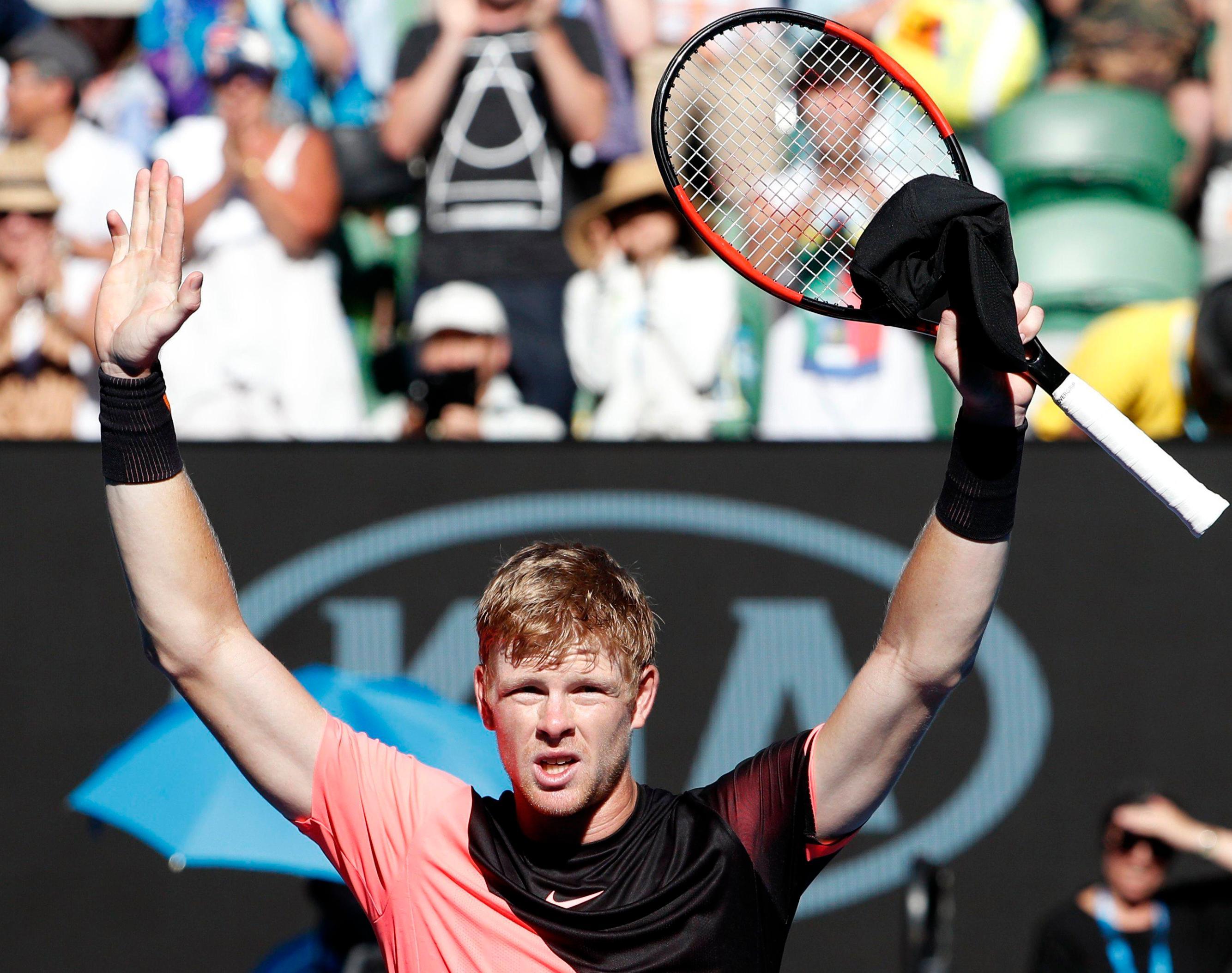 Kyle Edmund celebrates his win over Grigor Dimitrov to reach the Australian Open semi-final