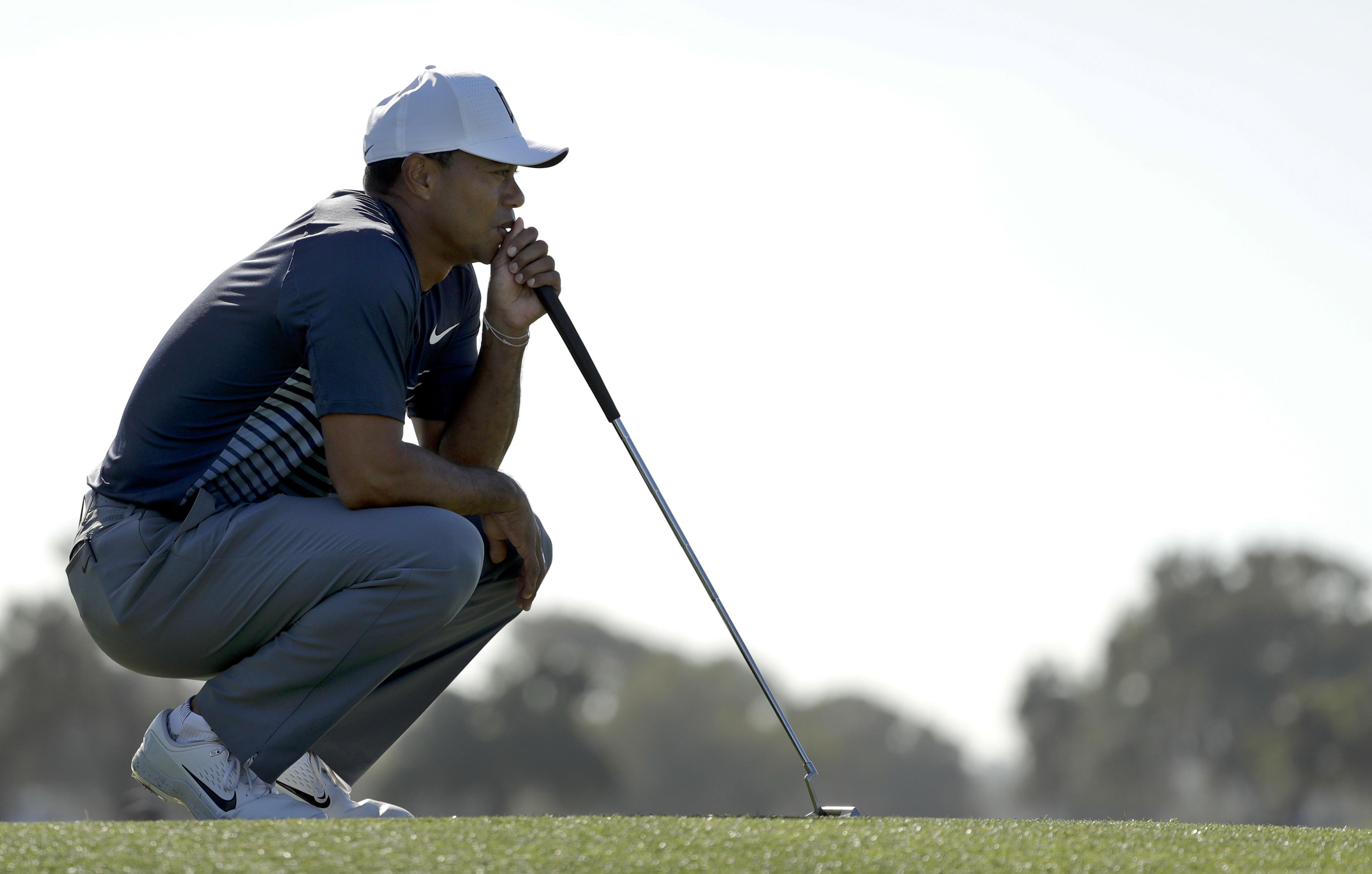 Tiger Woods sank a crucial birdie on the final hole to make the cut