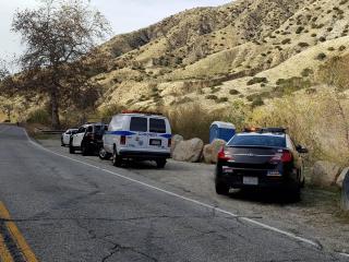 Vehículos policiales cerca de donde se encontró el cuerpo de Salling