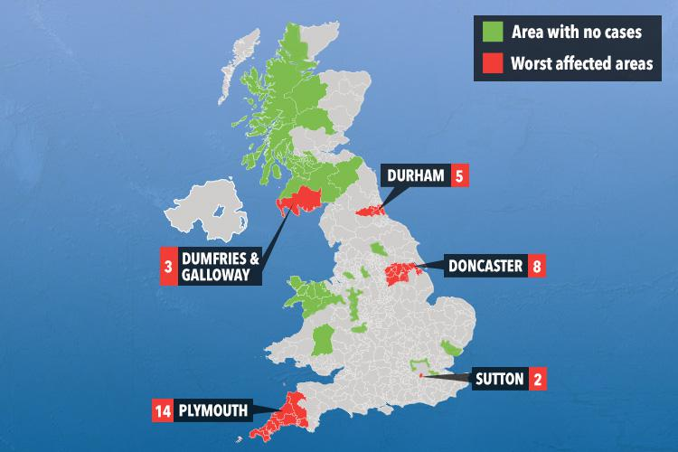 Map reveals UK areas worst hit by Aussie flu as 17 victims fight ...