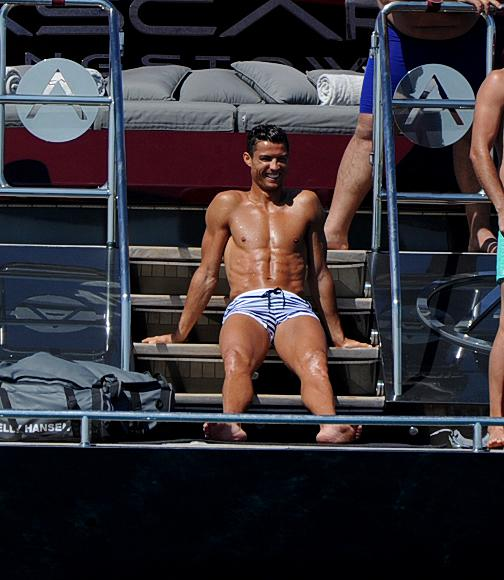 Cristiano Ronaldo soaks up the sun on board the Ascari super yacht