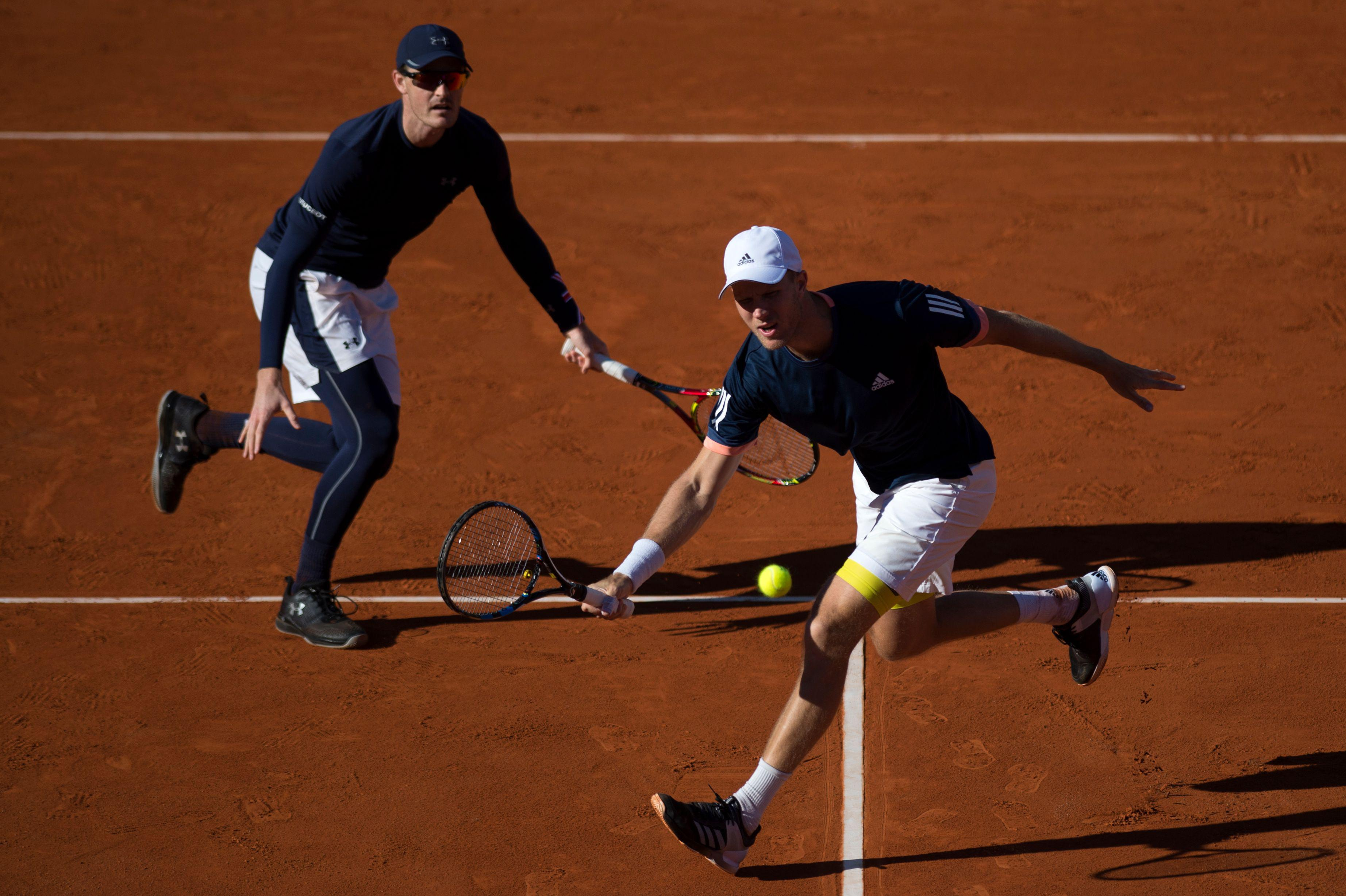 Jamie Murray and Dominic Inglot in action.