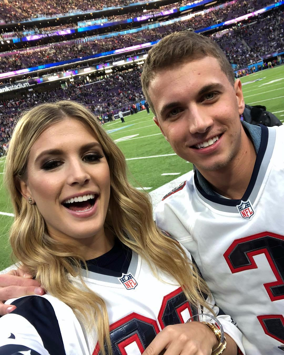 Tennis ace Eugenie Bouchard arrived at the Super Bowl with her Twitter date