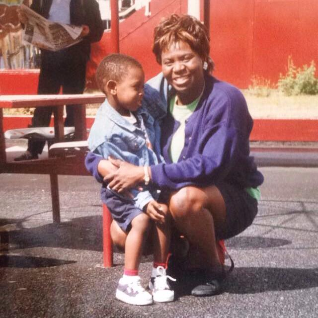 Ajayi as a youngster and his mother Kemi
