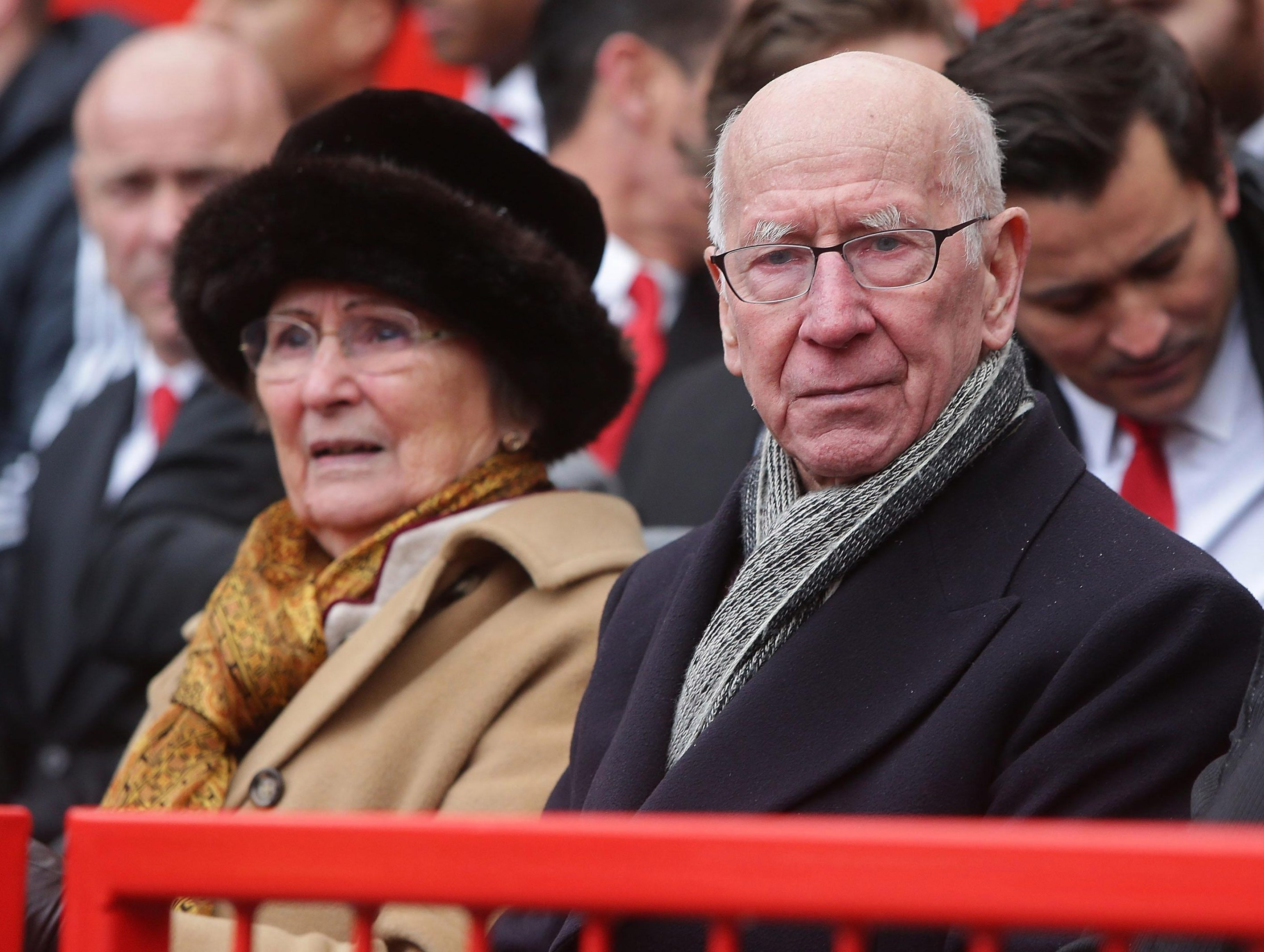 Sir Bobby Charlton and Lady Norma Charlton attend a service to commemorate the 60th anniversary of the Munich Air Disaster
