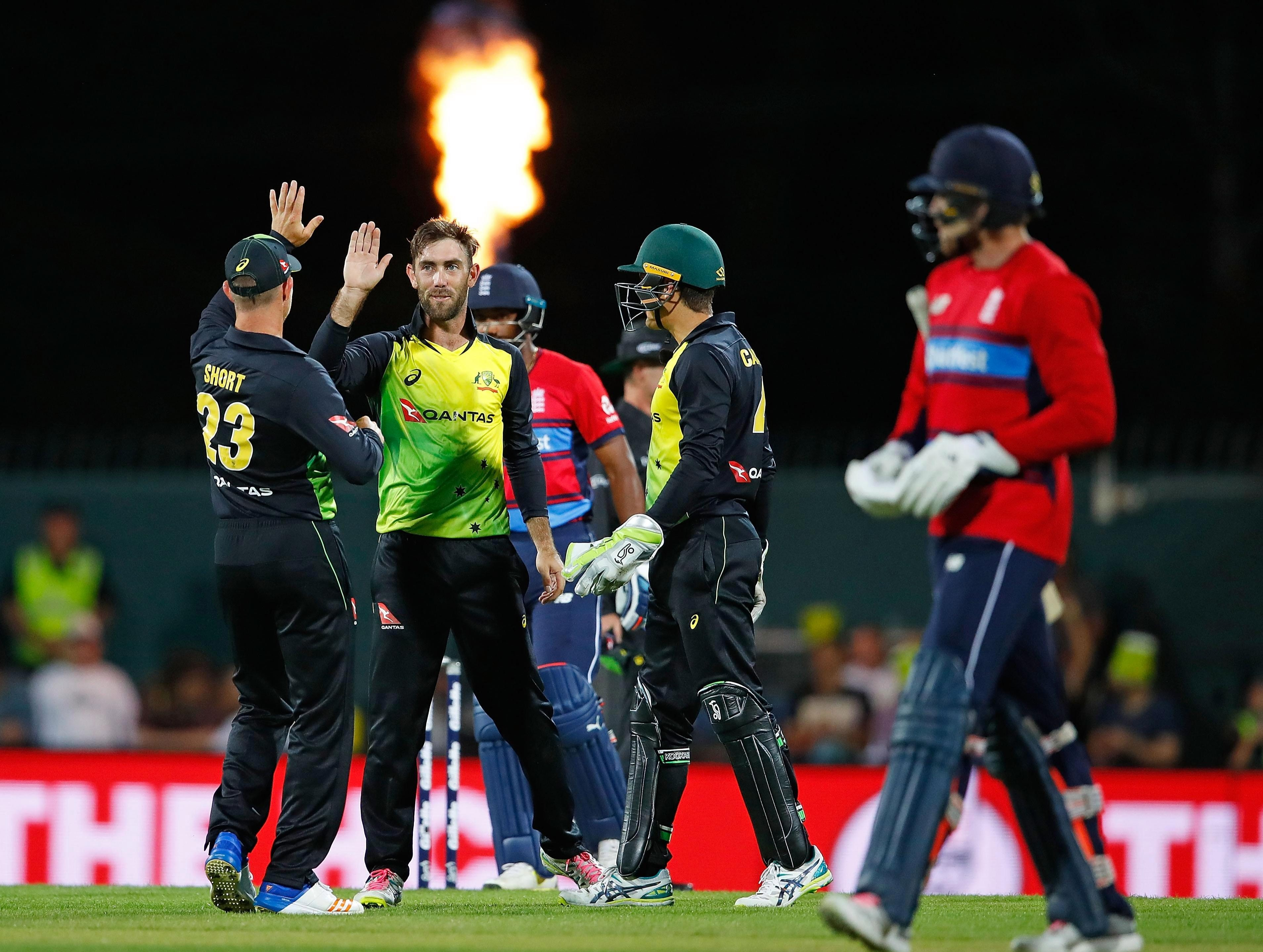 Glenn Maxwell took three wickets to go with his century in the first T20