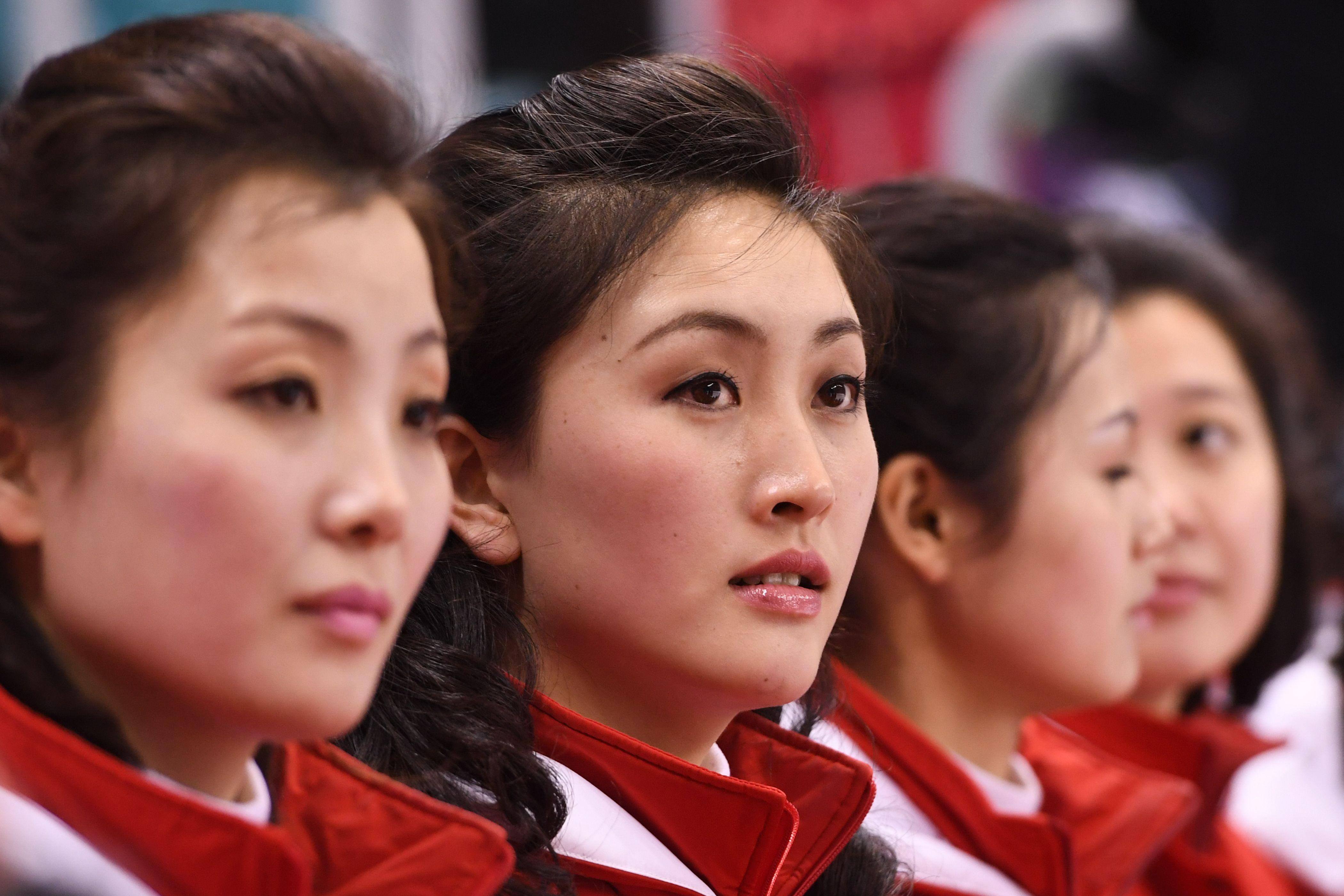 The North Korean cheerleaders caused quite a stir at the Kwandong Hockey Centre