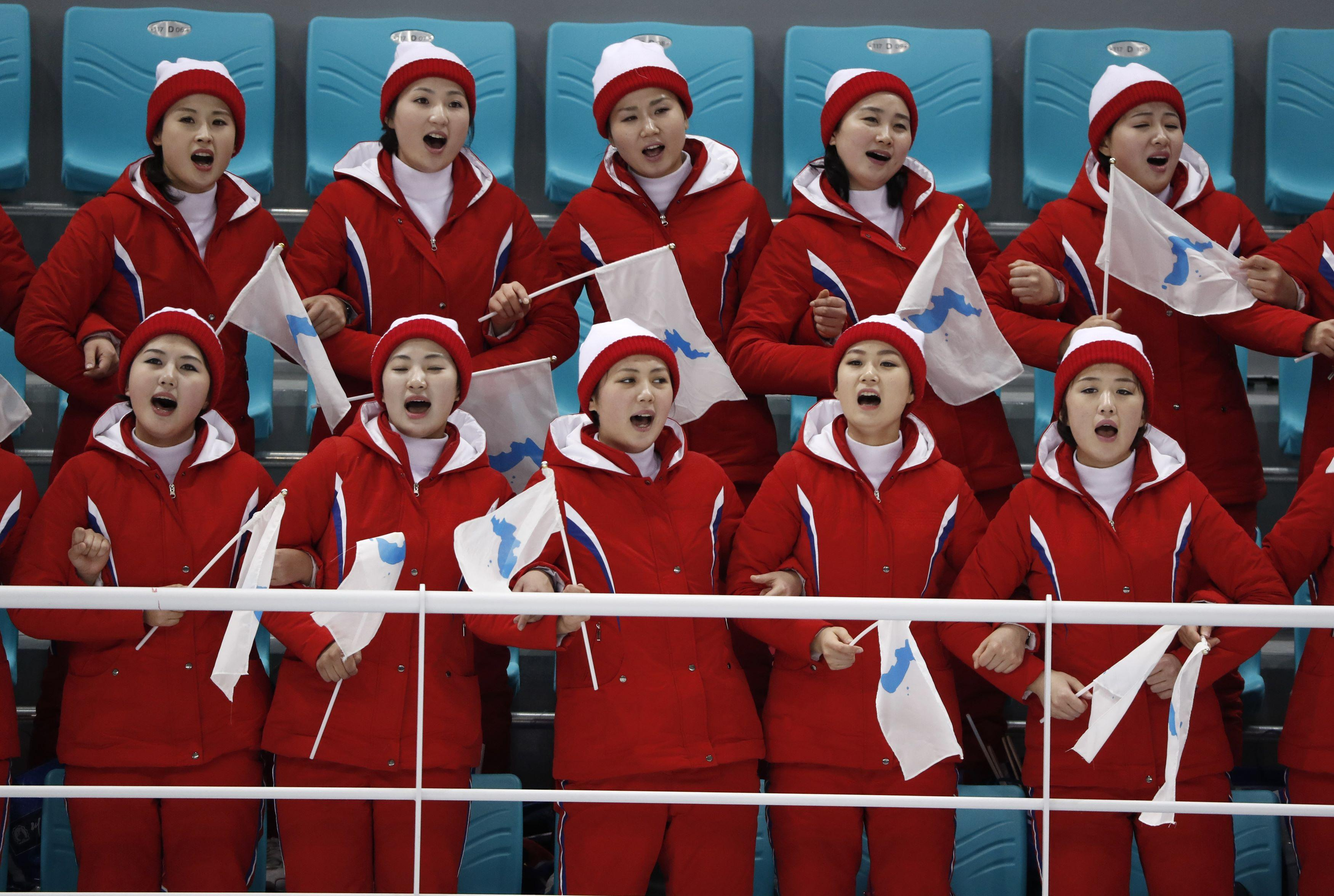 North Korea's serenaded fans during the hockey match against Switzerland women