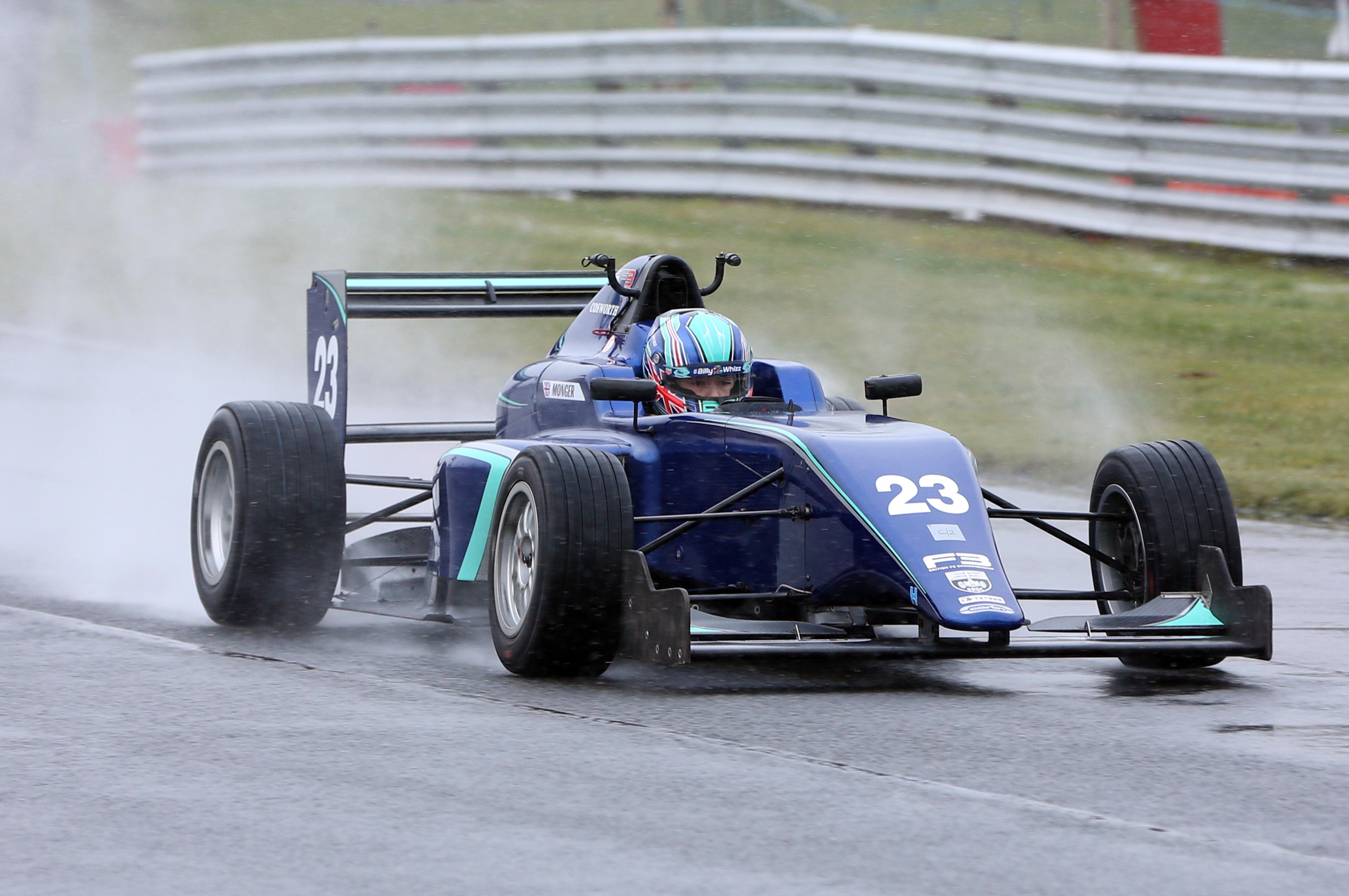 Billy Monger tests a Carlin-run MSV Formula 3 car at Oulton Park