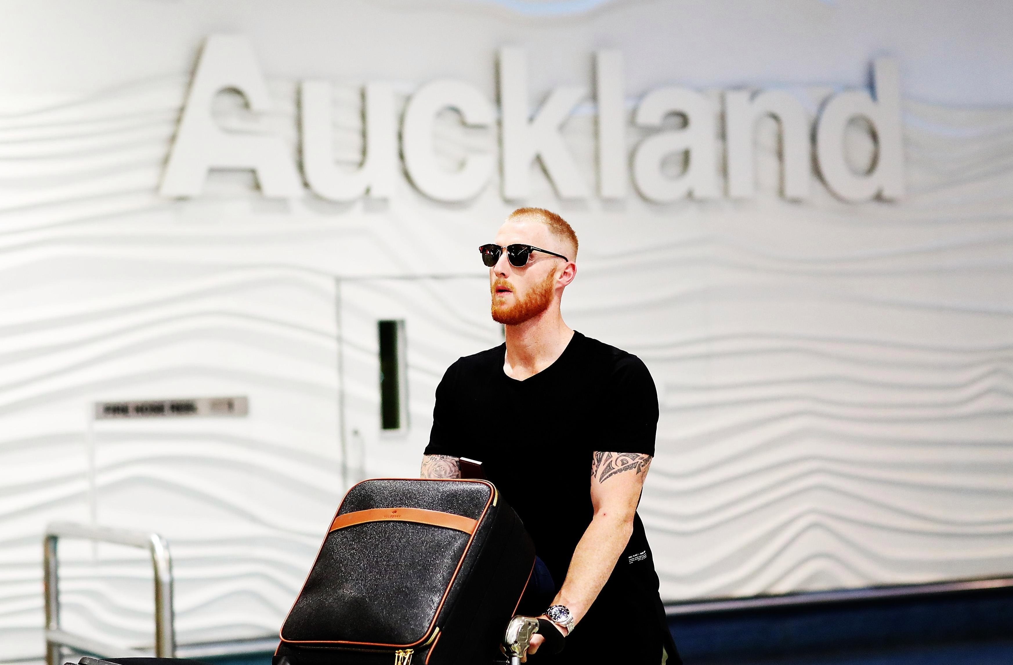 Stokes covers up any sleep deprived eyes with sunglasses after landing in Auckland