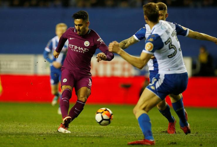 Manchester City's Ilkay Gundogan tries to break the deadlock at the DW Stadium