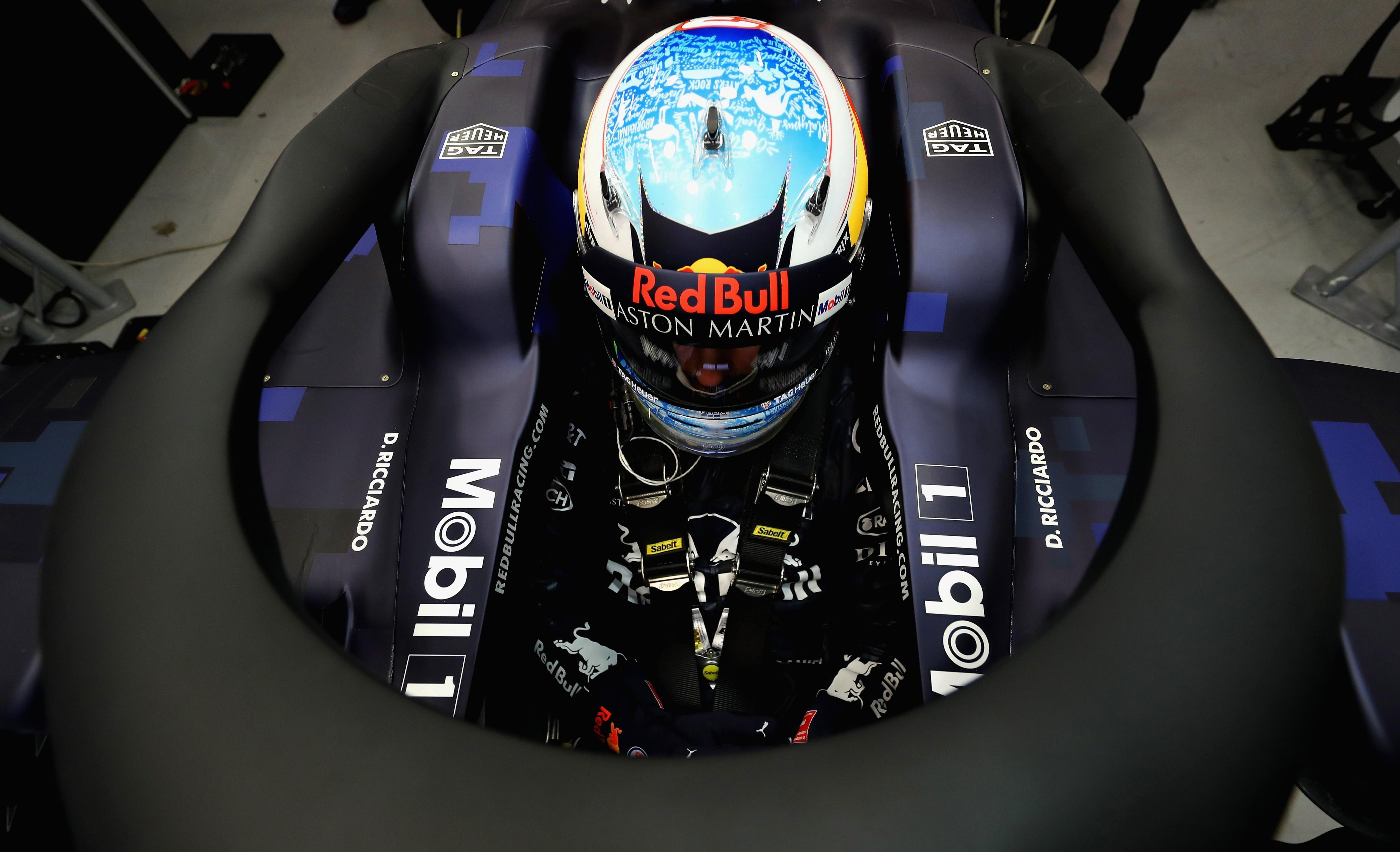The Australian was behind the wheel for the car's track debut at Silverstone on Monday