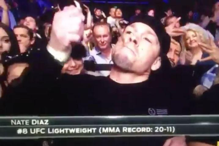 UFC star Nate Diaz put what appears to be a joint in his mouth and then fired up a lighter
