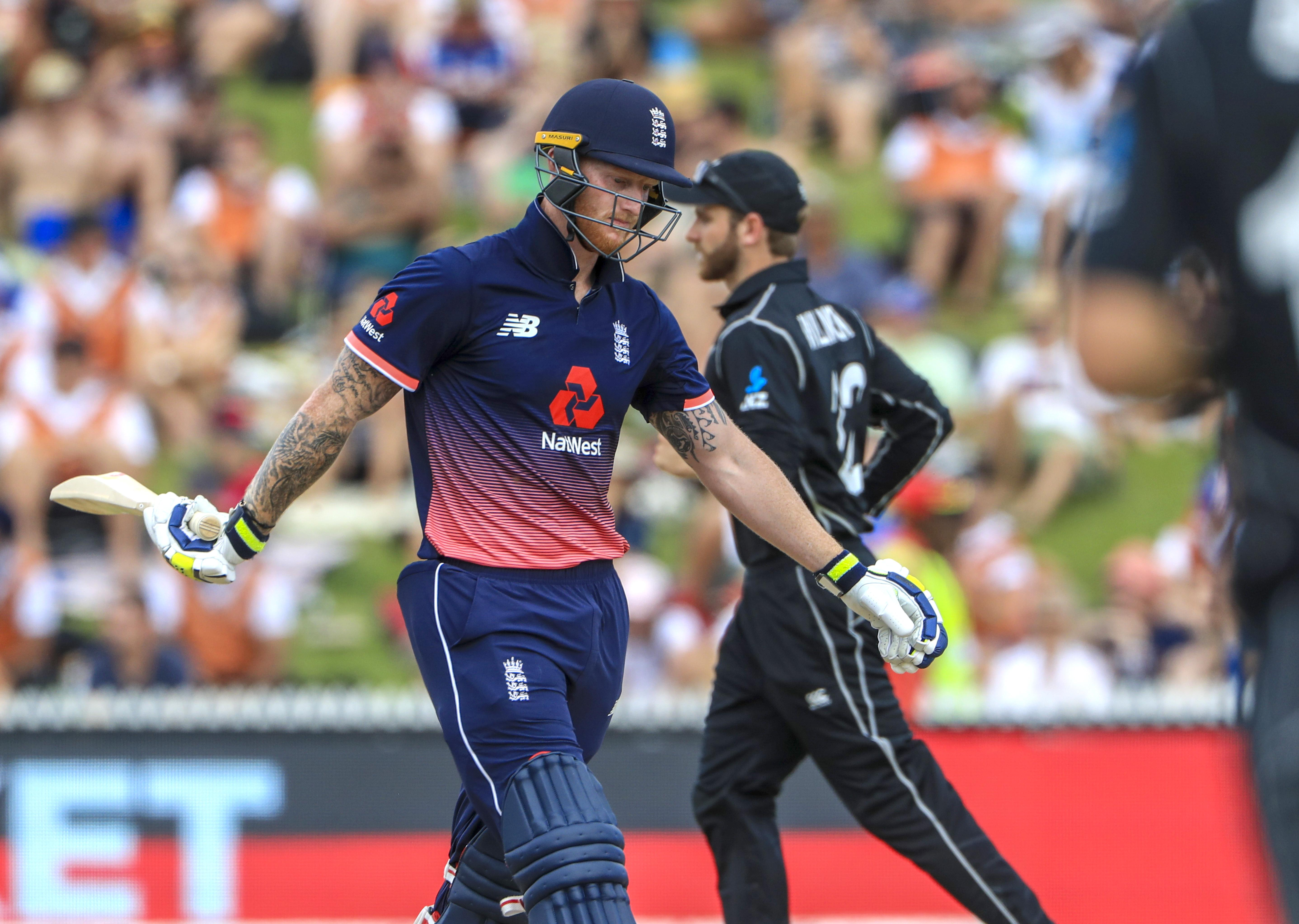 Ben Stokes walks after being caught for just 12 on return for England