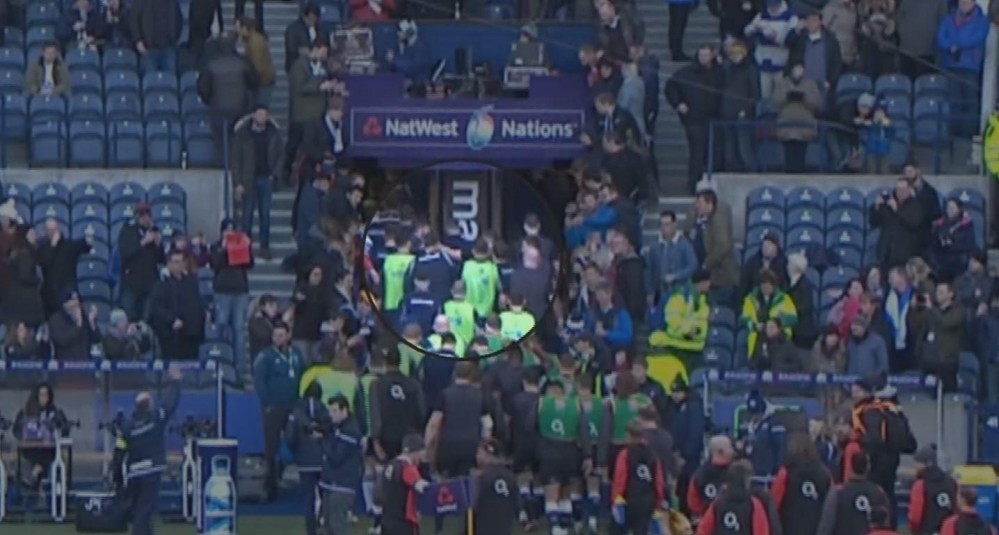 A brawl also broke out during half-time of the bad-tempered clash between England and Scotland at Murrayfield