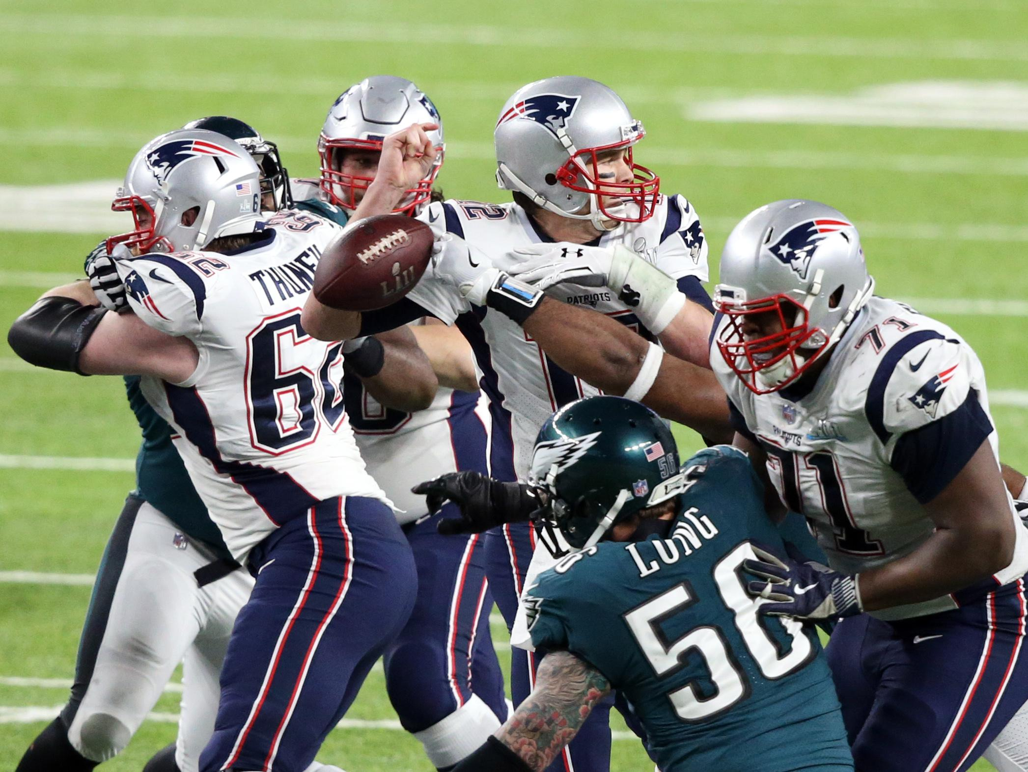 Tom Brady was strip sacked by Brandon Graham in the closing minutes