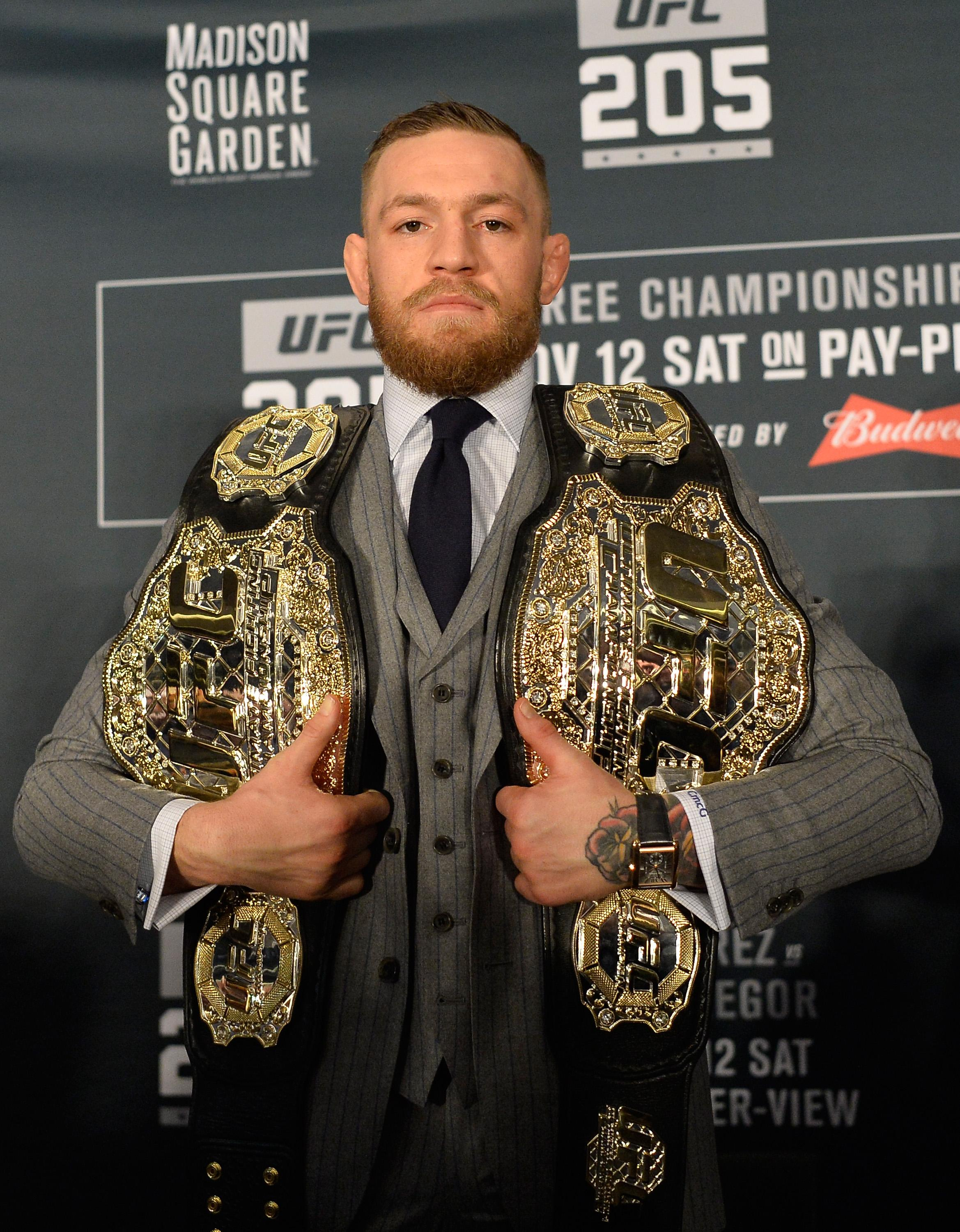 Conor McGregor held the feather and lightweight beltssimultaneously